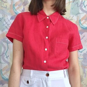 Linen vintage coral pink button up
